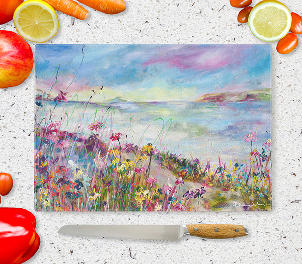 Glass Chopping Board of 'Summer Days'