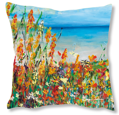 Faux Suede Art Cushion - South Coast