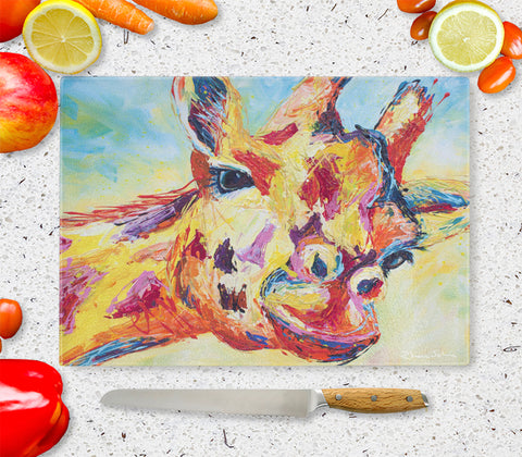Glass Chopping Board of 'Giraffe'