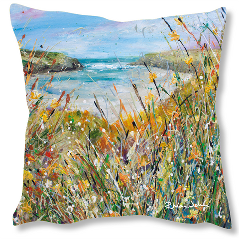Faux Suede Art Cushion - Cornwall