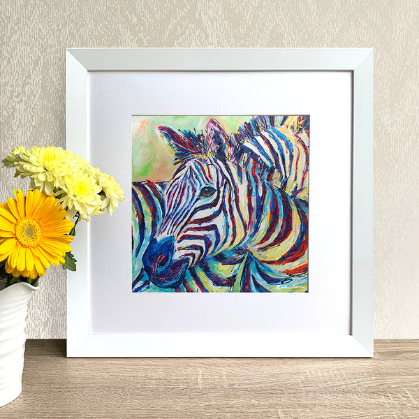 Framed Print - Zebra (square version)