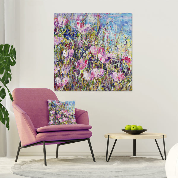Canvas Print of 'Pink Meadow' Square