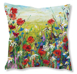 Faux Suede Art Cushion - Poppies and Daisies