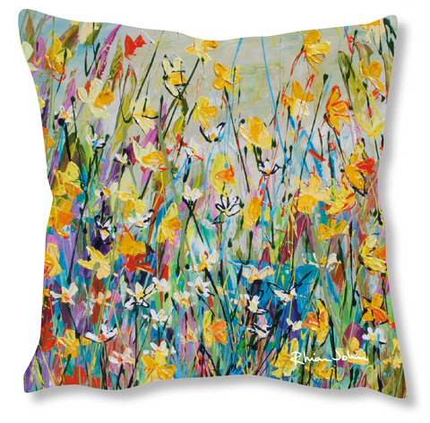 Faux Suede Art Cushion - Spring Day