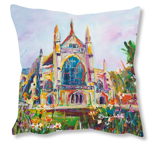Faux Suede Art Cushion - Winchester Cathedral