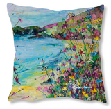 Faux Suede Art Cushion - Weekend Away