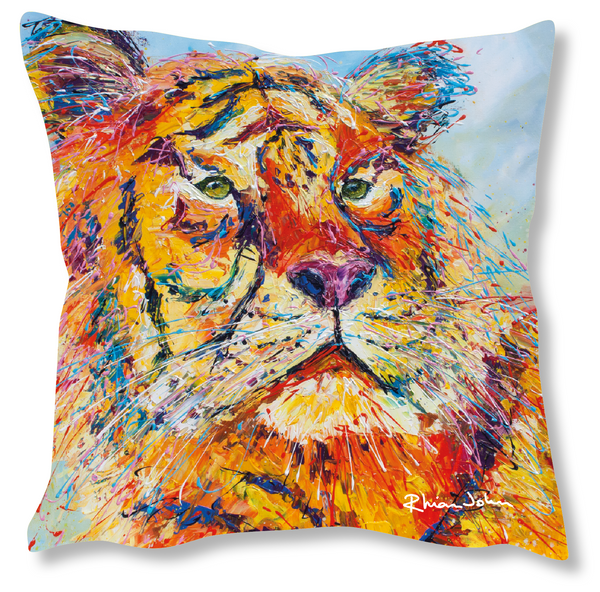 Faux Suede Art Cushion - Tiger