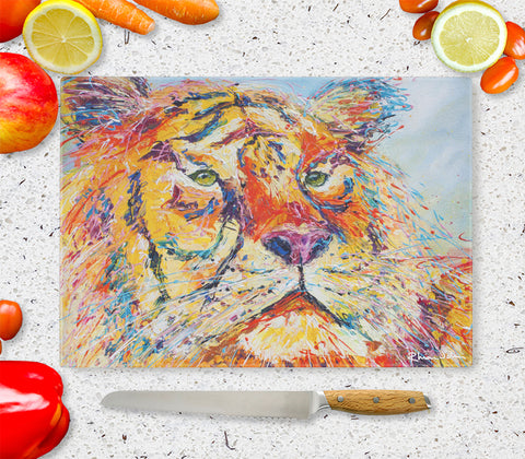 Glass Chopping Board of 'Tiger'