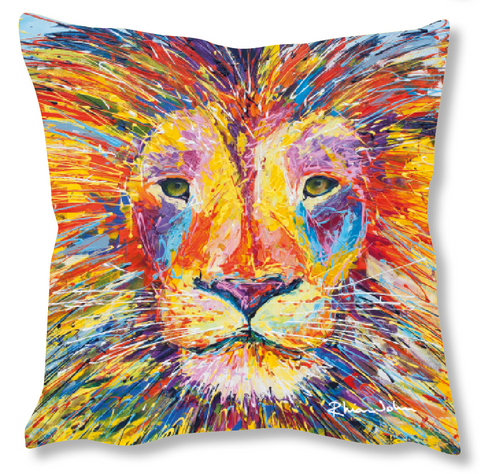 Faux Suede Art Cushion - Lion
