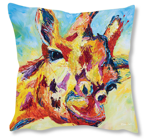 Faux Suede Art Cushion - Giraffe