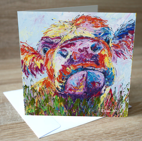 'Moo Cow' blank greetings card