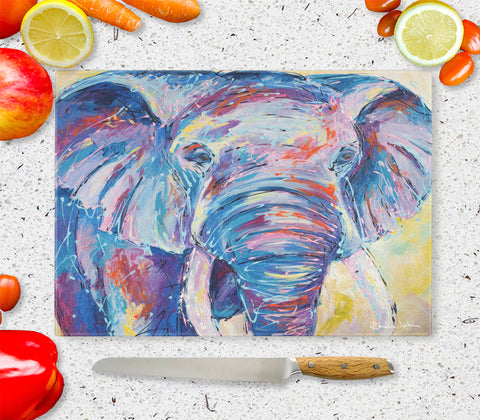 Glass Chopping Board of 'Nellie Ellie' Elephant