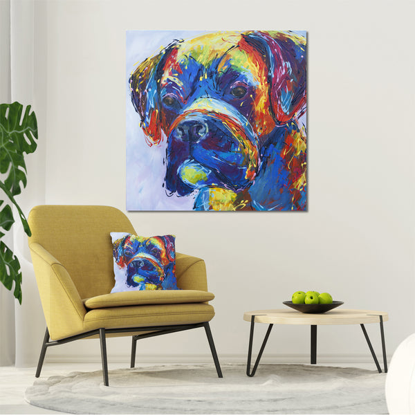 Canvas Print of 'Woof' Boxer Dog