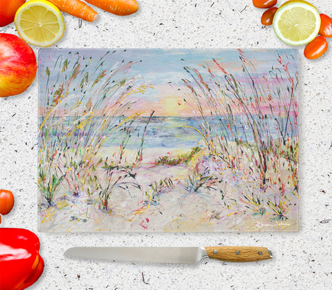 Glass Chopping Board of 'Beach Love'