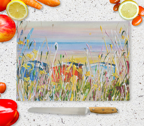 Glass Chopping Board of 'Beach Huts'