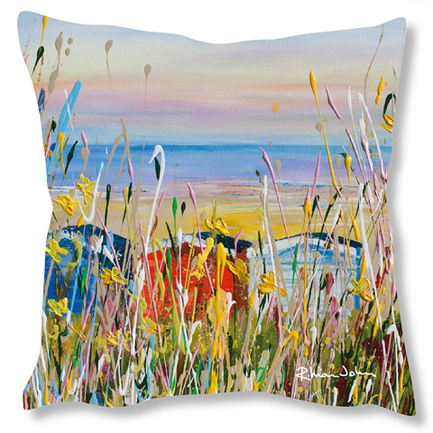 Faux Suede Art Cushion - Beach Huts
