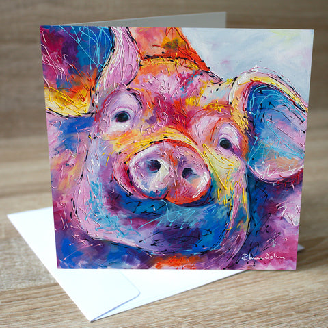 'Truffles' Pig blank greetings card