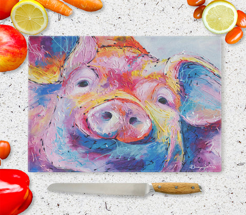 Glass Chopping Board of 'Truffles' Pig
