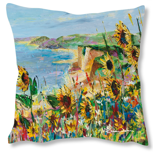 Faux Suede Art Cushion - Cliff view