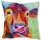 Faux Suede Art Cushion - Jersey Cow