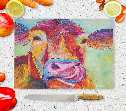 Glass Chopping Board of 'Jersey Cow'