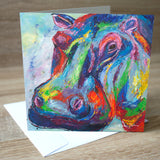 'Hippo' blank greetings card