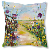 Faux Suede Art Cushion - Cotswolds