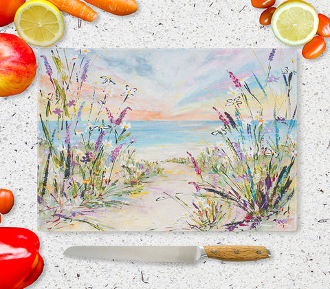 Glass Chopping Board of 'In The Breeze'