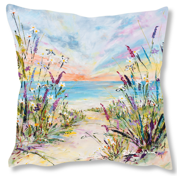 Faux Suede Art Cushion - In The Breeze