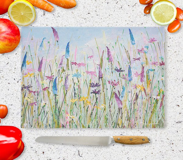 Glass Chopping Board of 'My Meadow'
