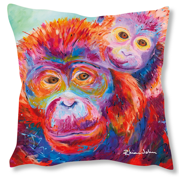 Faux Suede Art Cushion - Orangutans