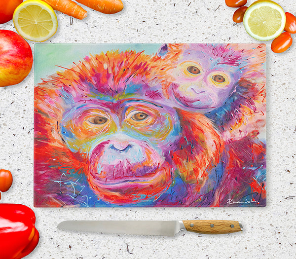 Glass Chopping Board of Orangutans