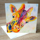 'Lofty Giraffe' blank greetings card