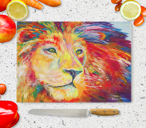 Glass Chopping Board of 'Lion Pride'