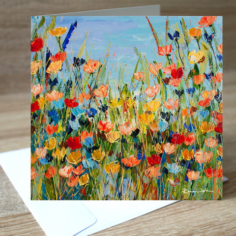 'Orange Meadow' blank greetings card