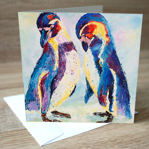 'Penguins' blank greetings card