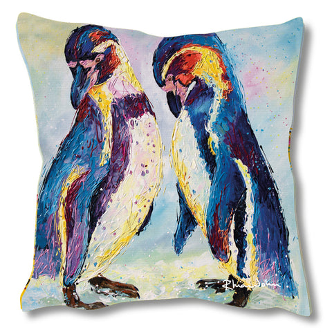 Faux Suede Art Cushion - Penguins