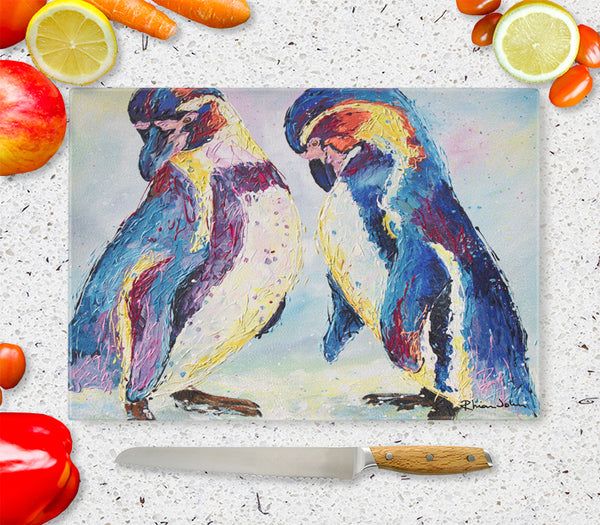 Glass Chopping Board of 'Penguins'