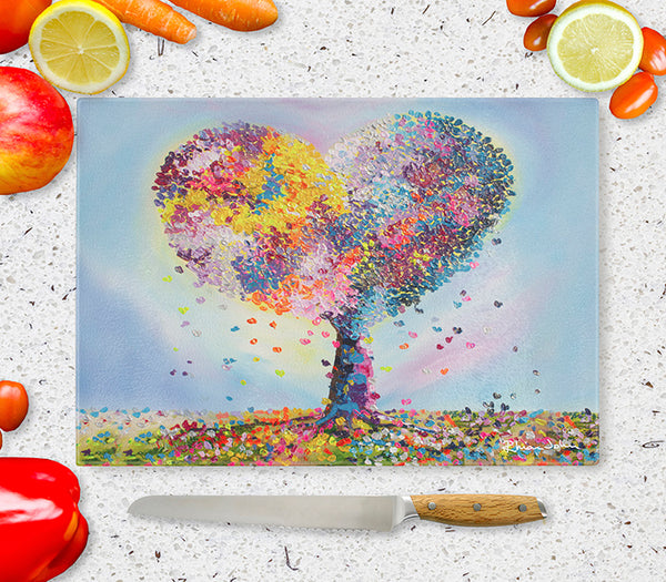 Glass Chopping Board of 'With Love'