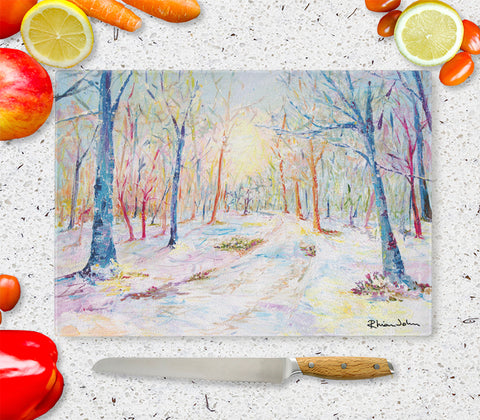 Glass Chopping Board of 'Enchanted Forest'