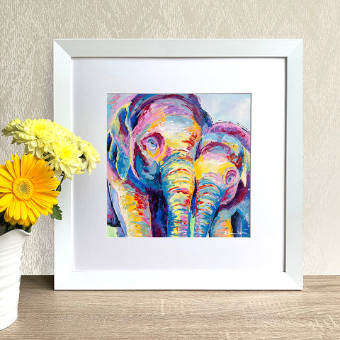 Framed Print - Elephants Together