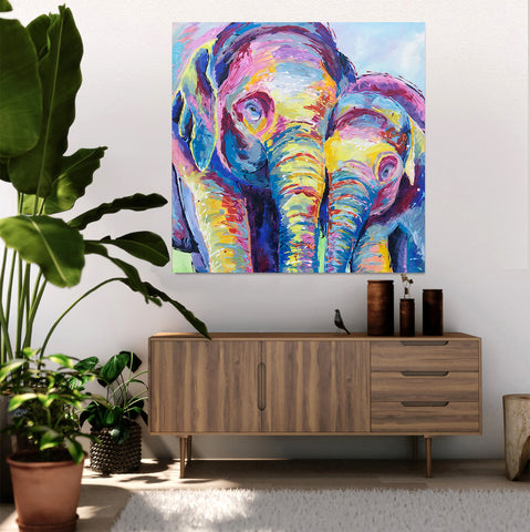 Canvas Print of 'Elephants together'