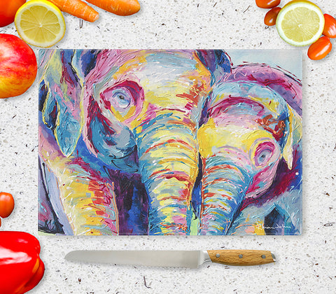 Glass Chopping Board of 'Elephants Together'