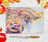 Glass Chopping Board of 'Chater Highland' Cow