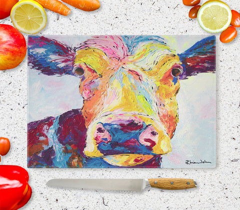 Glass Chopping Board of Clover Cow