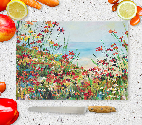 Glass Chopping Board of 'Beach Path'