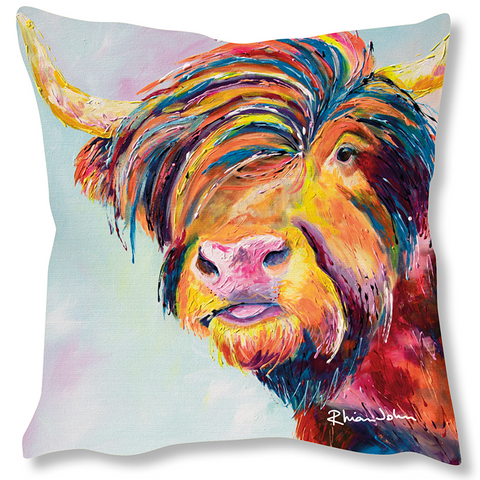 Faux Suede Art Cushion - Harry Highland Cow