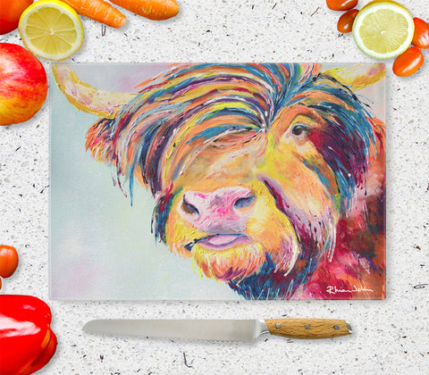 Glass Chopping Board of Harry Highland Cow