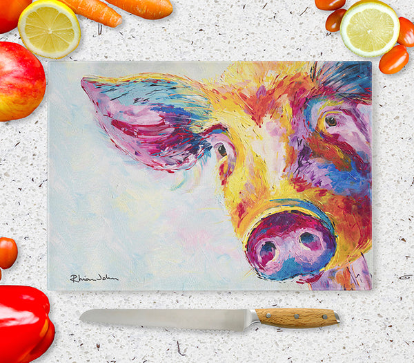 Glass Chopping Board of 'Snuffles Pig'