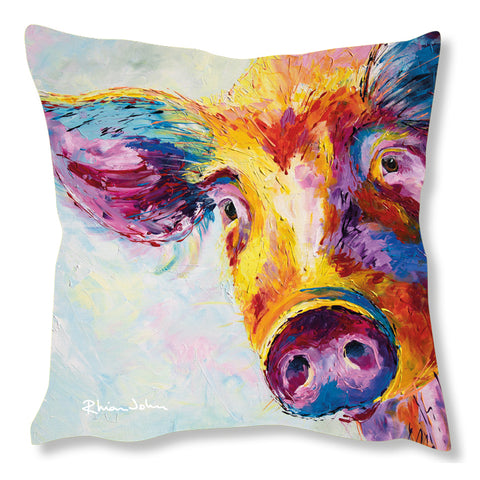 Faux Suede Art Cushion - Snuffles Pig